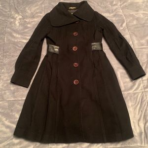 Mackage wool cashmere coat with leather trim